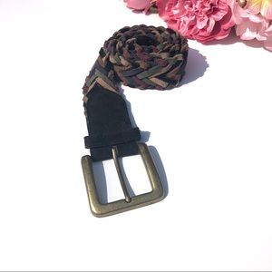 Accessories - Braided Suede Belt Size Small Gold Belt Buckle